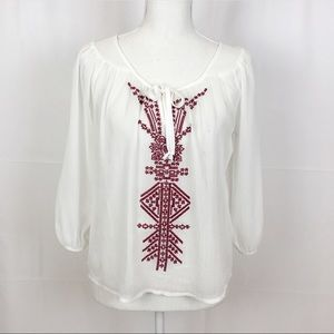 🌺FANG Peasant Blouse-Embroidered-White/Burgundy-S